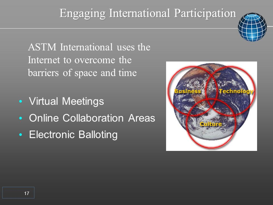 17 Engaging International Participation Virtual Meetings Online Collaboration Areas Electronic Balloting ASTM International uses the Internet to overcome the barriers of space and time