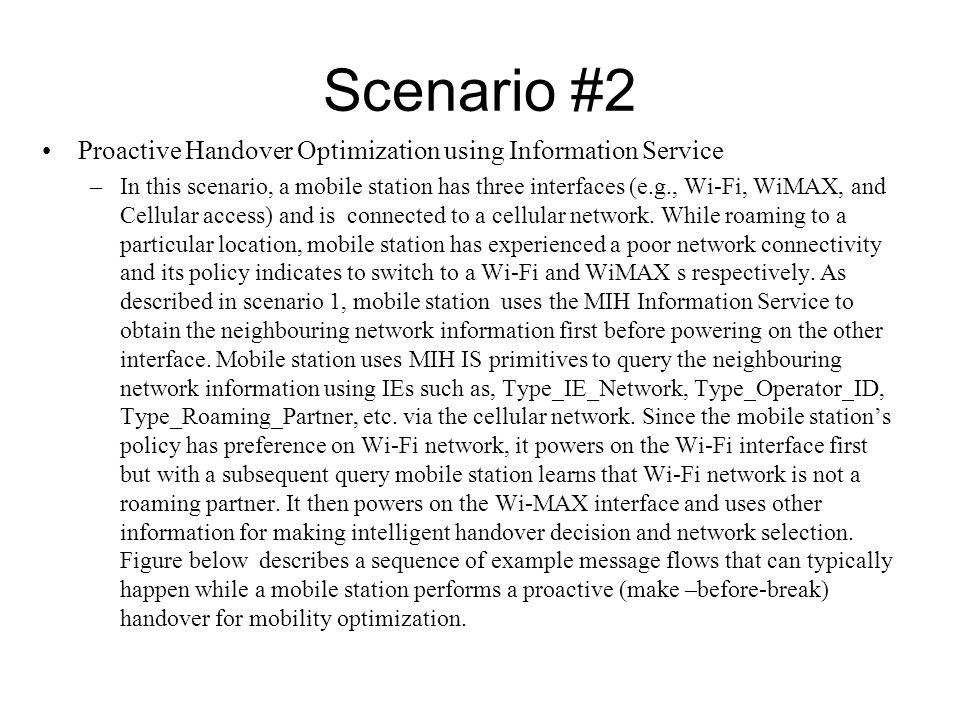 Scenario #2 Proactive Handover Optimization using Information Service –In this scenario, a mobile station has three interfaces (e.g., Wi-Fi, WiMAX, an