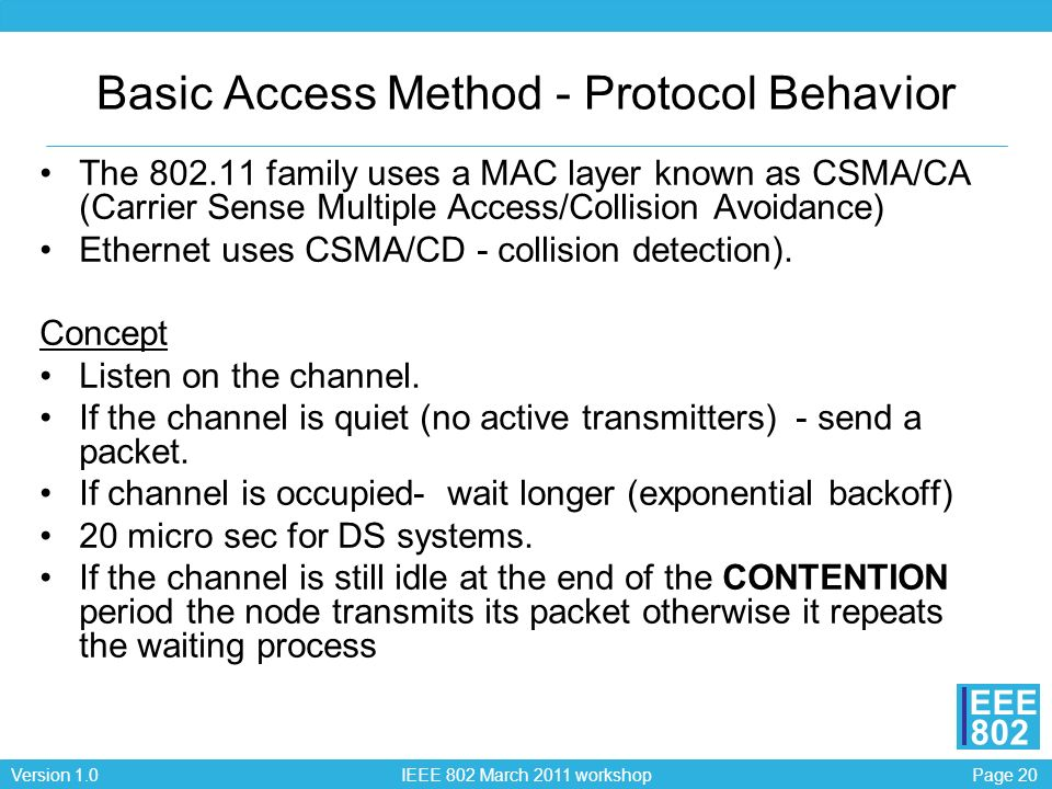 Page 20Version 1.0 IEEE 802 March 2011 workshop EEE 802 Basic Access Method - Protocol Behavior The 802.11 family uses a MAC layer known as CSMA/CA (C