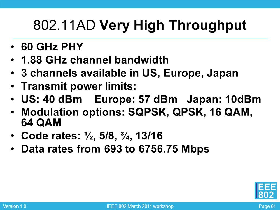 Page 61Version 1.0 IEEE 802 March 2011 workshop EEE 802 802.11AD Very High Throughput 60 GHz PHY 1.88 GHz channel bandwidth 3 channels available in US