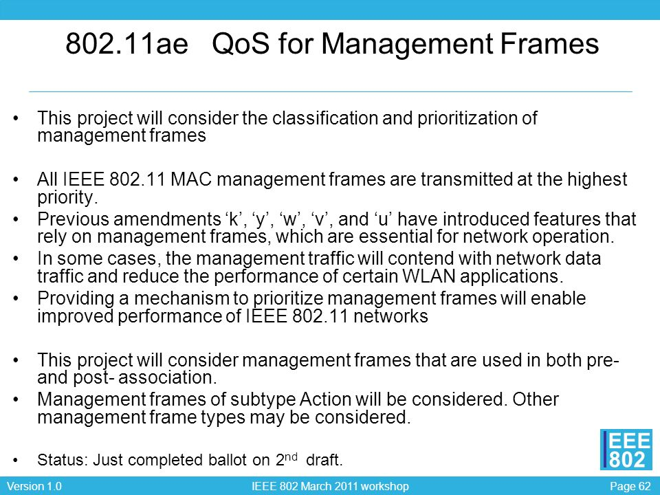 Page 62Version 1.0 IEEE 802 March 2011 workshop EEE 802 802.11ae QoS for Management Frames This project will consider the classification and prioritiz