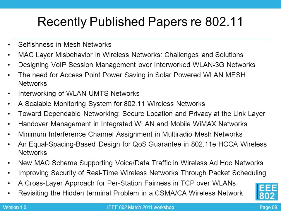 Page 69Version 1.0 IEEE 802 March 2011 workshop EEE 802 Recently Published Papers re 802.11 Selfishness in Mesh Networks MAC Layer Misbehavior in Wire