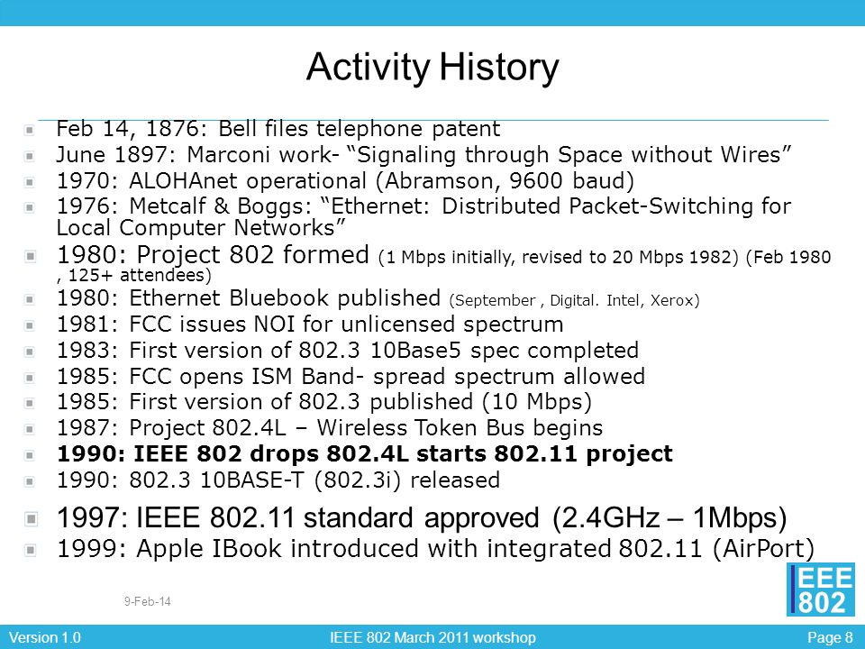 Page 9Version 1.0 IEEE 802 March 2011 workshop EEE 802 Activity History 1997: IEEE 802.11 standard approved (2.4GHz – 1Mbps) 1998: UNII (Unlicensed National Information Infrastructure) Band - 5 GHz 1999: IEEE 802.11 standard achieved ISO/IEC approval 1999: IEEE 802.11a (5GHz – 54Mbps) - approved IEEE 802.11b (2.4GHz- 11Mbps)- approved 1999: Formation of WECA (now Wi-Fi Alliance) 2001: IEEE 802.11d Regulatory Domains - approved 2003: IEEE 802.11g (Higher rate 2.4GHz PHY) – approved IEEE 802.11i (Security) - approved IEEE 802.11h (Spectrum Mgmt) - approved IEEE 802.11f (interaccess point protocol) – approved 2005: IEEE 802.11e (MAC enhancements – QoS) – approved