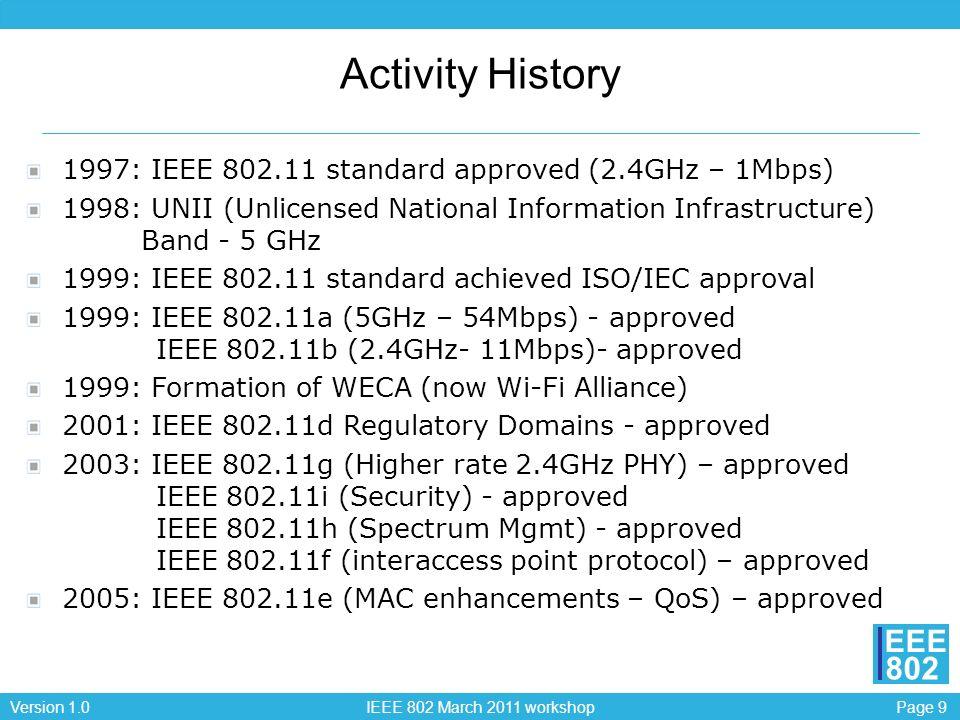 Page 10Version 1.0 IEEE 802 March 2011 workshop EEE 802