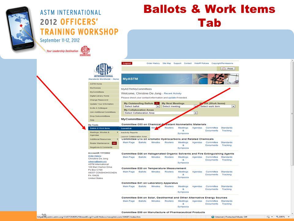 Ballots & Work Items Tab 20