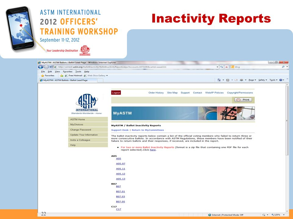 Inactivity Reports 22