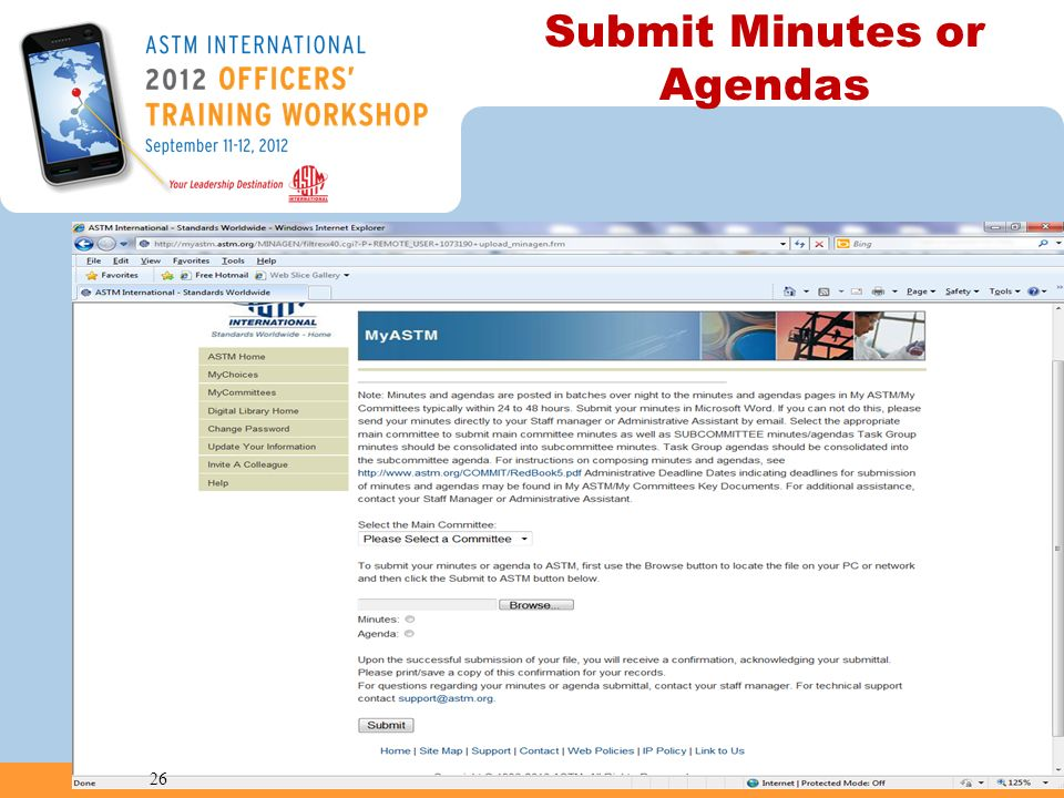 Submit Minutes or Agendas 26