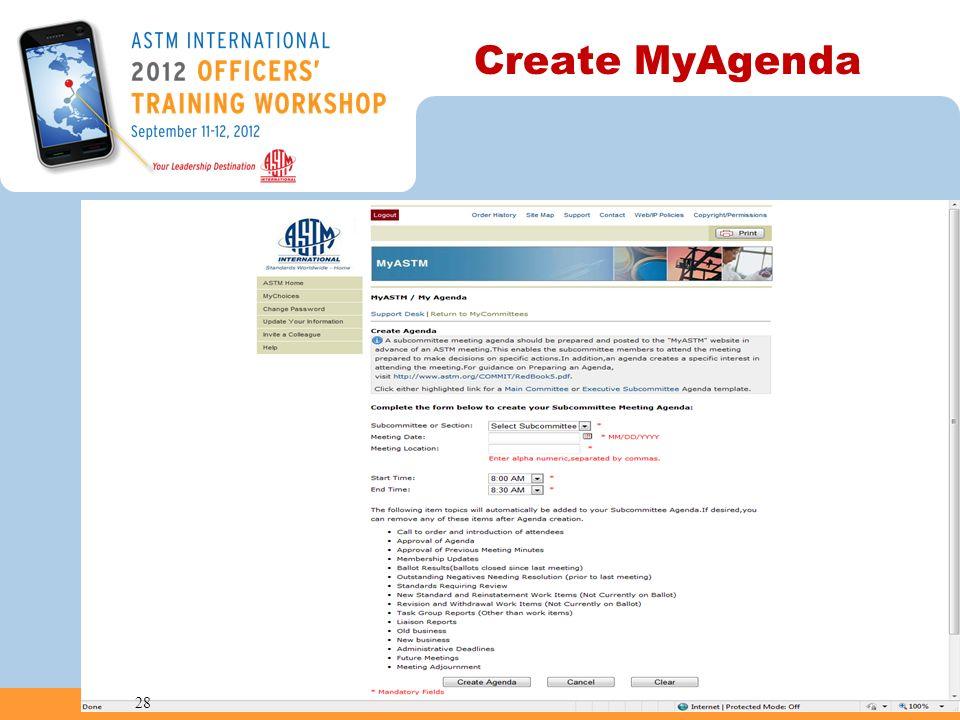 Create MyAgenda 28