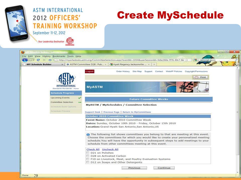 Create MySchedule 29