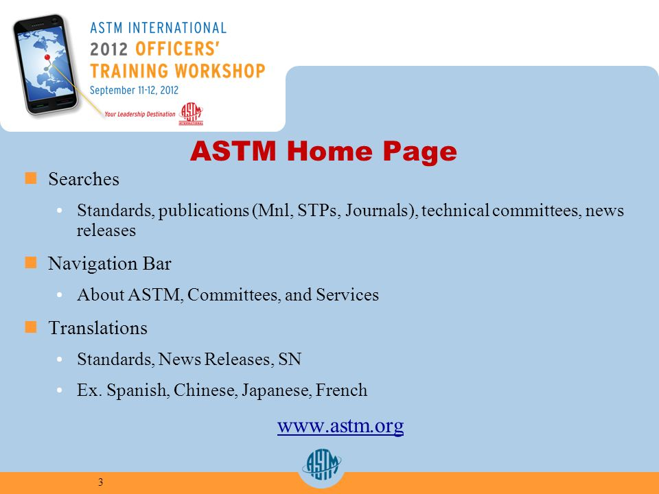 ASTM Home Page Searches Standards, publications (Mnl, STPs, Journals), technical committees, news releases Navigation Bar About ASTM, Committees, and Services Translations Standards, News Releases, SN Ex.