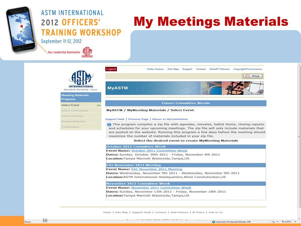 My Meetings Materials 30