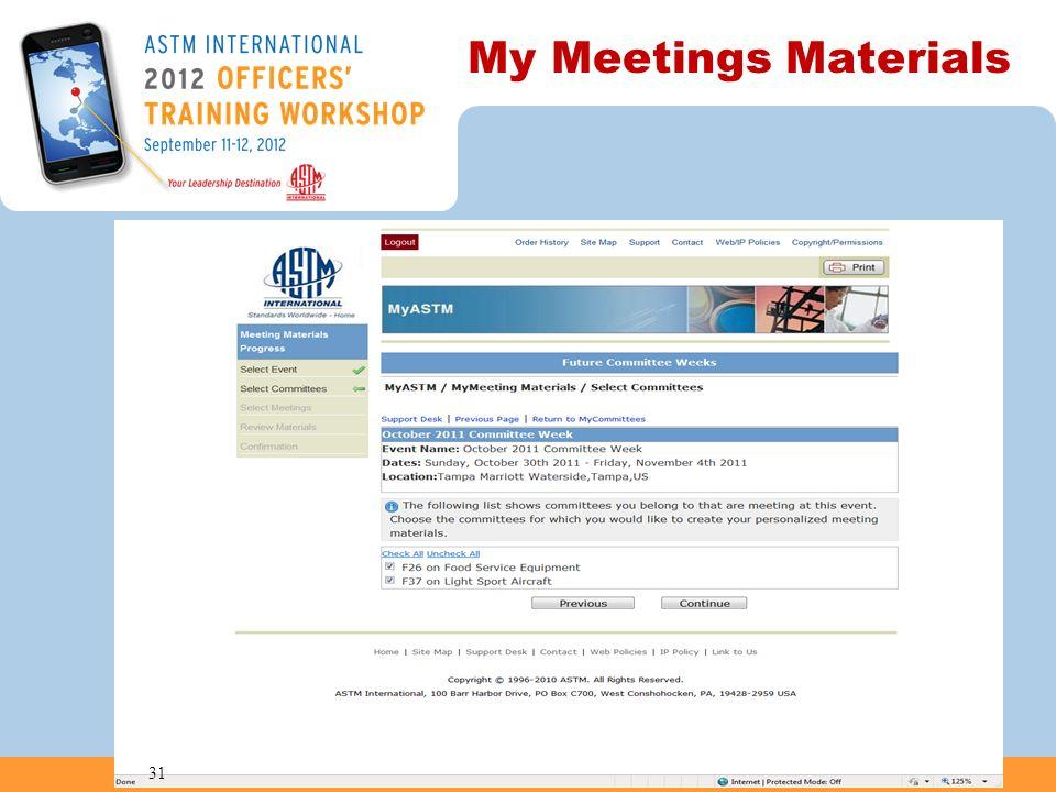 My Meetings Materials 31