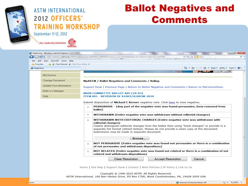 Ballot Negatives and Comments 47