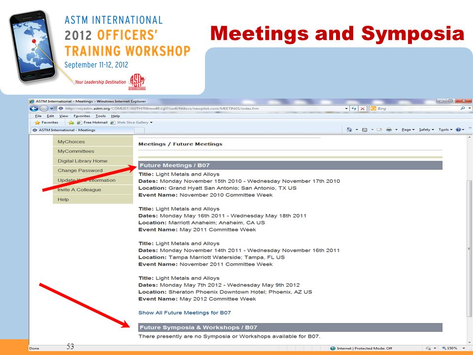 Meetings and Symposia 53