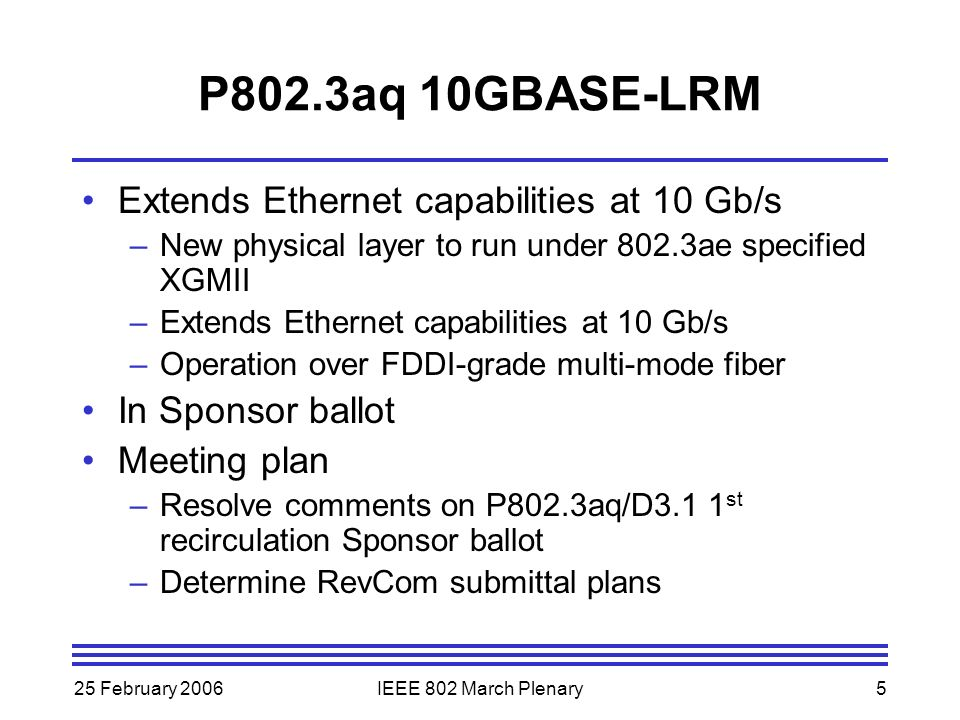 25 February 2006IEEE 802 March Plenary5 P802.3aq 10GBASE-LRM Extends Ethernet capabilities at 10 Gb/s –New physical layer to run under 802.3ae specified XGMII –Extends Ethernet capabilities at 10 Gb/s –Operation over FDDI-grade multi-mode fiber In Sponsor ballot Meeting plan –Resolve comments on P802.3aq/D3.1 1 st recirculation Sponsor ballot –Determine RevCom submittal plans