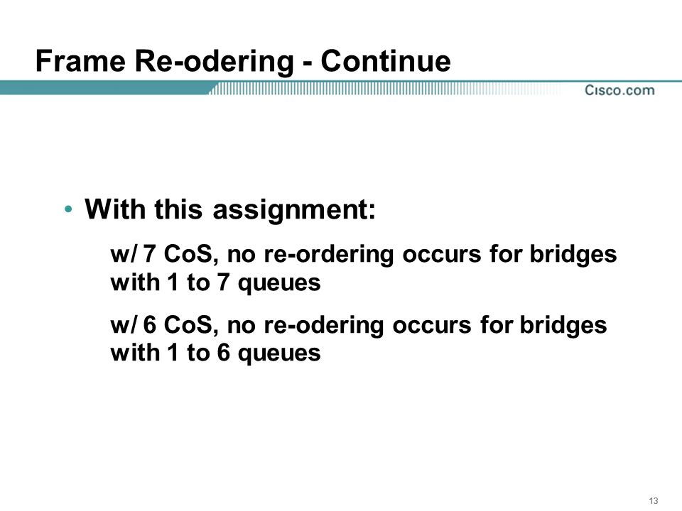13 Frame Re-odering - Continue With this assignment: w/ 7 CoS, no re-ordering occurs for bridges with 1 to 7 queues w/ 6 CoS, no re-odering occurs for bridges with 1 to 6 queues
