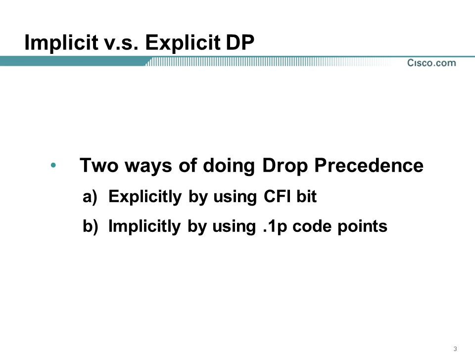 333 Implicit v.s. Explicit DP Two ways of doing Drop Precedence a)Explicitly by using CFI bit b)Implicitly by using.1p code points