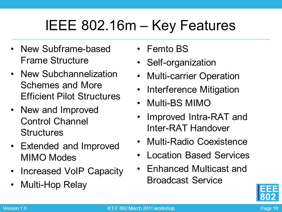Page 19Version 1.0 IEEE 802 March 2011 workshop EEE 802 IEEE 802.16m – Key Features New Subframe-based Frame Structure New Subchannelization Schemes and More Efficient Pilot Structures New and Improved Control Channel Structures Extended and Improved MIMO Modes Increased VoIP Capacity Multi-Hop Relay Femto BS Self-organization Multi-carrier Operation Interference Mitigation Multi-BS MIMO Improved Intra-RAT and Inter-RAT Handover Multi-Radio Coexistence Location Based Services Enhanced Multicast and Broadcast Service