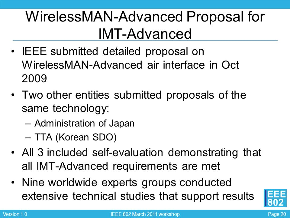 Page 20Version 1.0 IEEE 802 March 2011 workshop EEE 802 WirelessMAN-Advanced Proposal for IMT-Advanced IEEE submitted detailed proposal on WirelessMAN-Advanced air interface in Oct 2009 Two other entities submitted proposals of the same technology: –Administration of Japan –TTA (Korean SDO) All 3 included self-evaluation demonstrating that all IMT-Advanced requirements are met Nine worldwide experts groups conducted extensive technical studies that support results