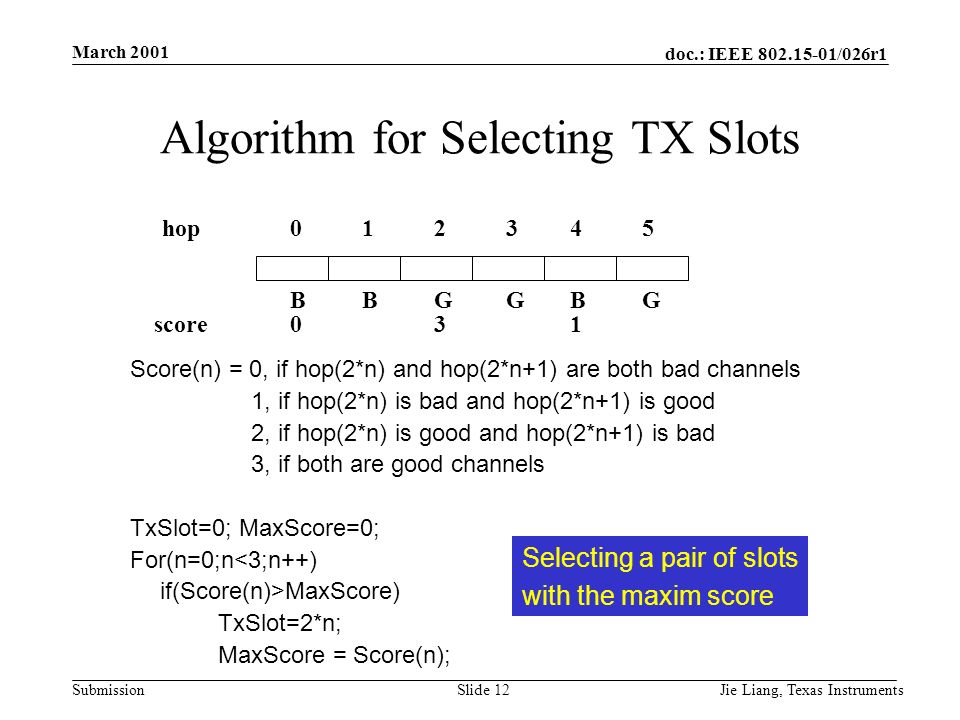 doc.: IEEE 802.15-01/026r1 Submission March 2001 Jie Liang, Texas InstrumentsSlide 12 Algorithm for Selecting TX Slots Score(n) = 0, if hop(2*n) and hop(2*n+1) are both bad channels 1, if hop(2*n) is bad and hop(2*n+1) is good 2, if hop(2*n) is good and hop(2*n+1) is bad 3, if both are good channels TxSlot=0; MaxScore=0; For(n=0;n<3;n++) if(Score(n)>MaxScore) TxSlot=2*n; MaxScore = Score(n); BBGGBG 012345hop score031 Selecting a pair of slots with the maxim score