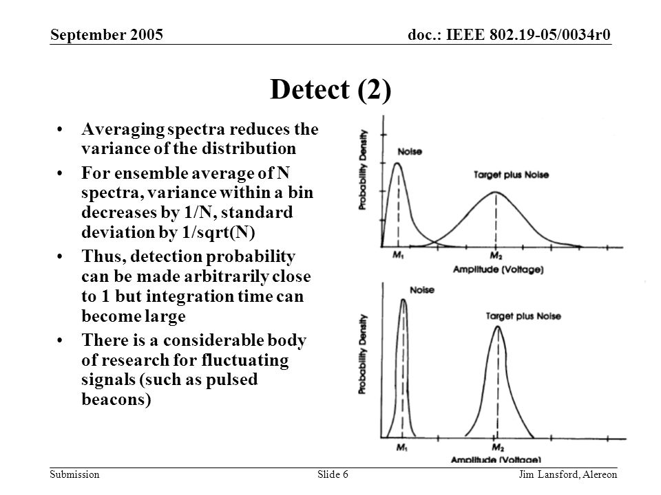 doc.: IEEE 802.19-05/0034r0 Submission September 2005 Jim Lansford, AlereonSlide 6 Detect (2) Averaging spectra reduces the variance of the distribution For ensemble average of N spectra, variance within a bin decreases by 1/N, standard deviation by 1/sqrt(N) Thus, detection probability can be made arbitrarily close to 1 but integration time can become large There is a considerable body of research for fluctuating signals (such as pulsed beacons)