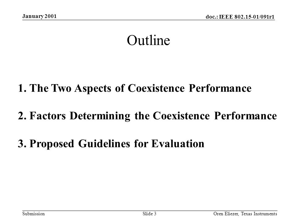 doc.: IEEE /091r1 Submission January 2001 Oren Eliezer, Texas Instruments Slide 3 1.