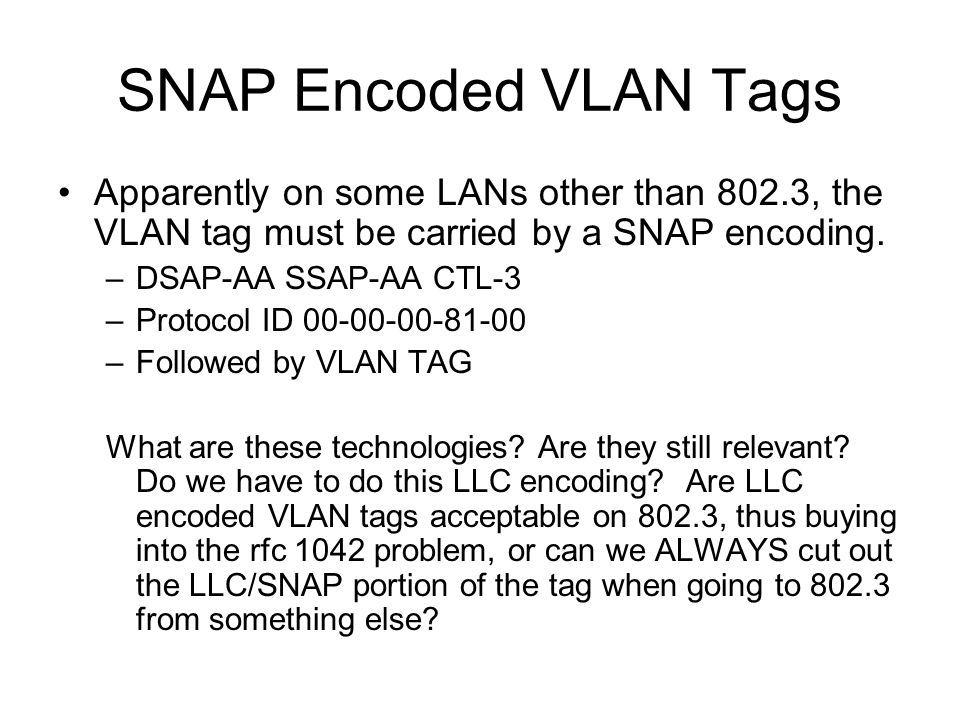 SNAP Encoded VLAN Tags Apparently on some LANs other than 802.3, the VLAN tag must be carried by a SNAP encoding.