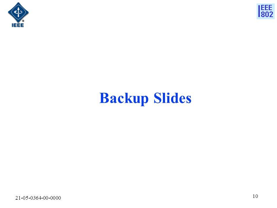 21-05-0364-00-0000 10 Backup Slides