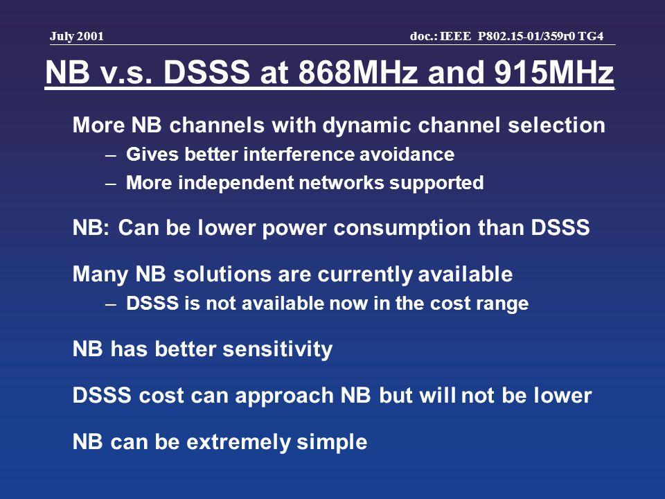 doc.: IEEE P802.15-01/359r0 TG4 July 2001 NB v.s.