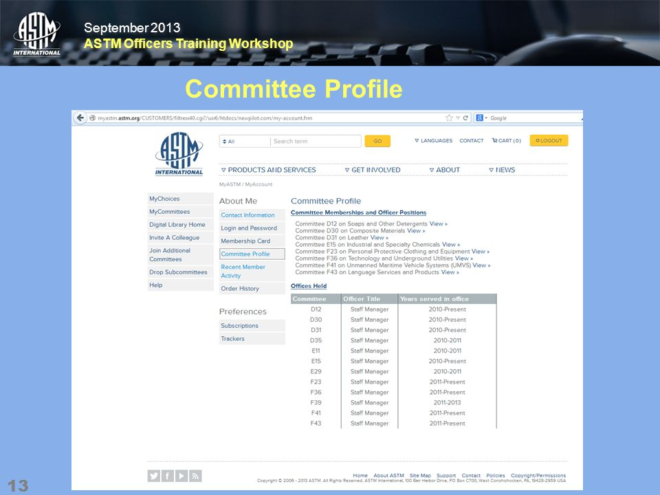 September 2013 ASTM Officers Training Workshop September 2013 ASTM Officers Training Workshop Committee Profile 13