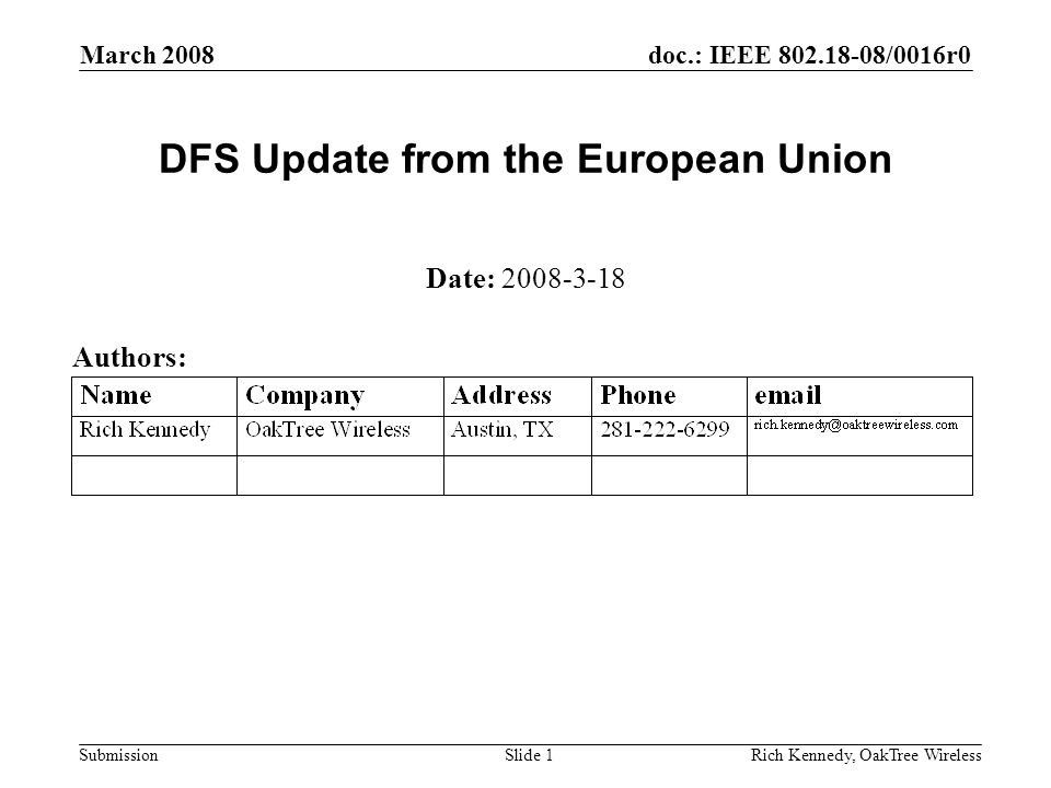 doc.: IEEE 802.18-08/0016r0 Submission March 2008 Rich Kennedy, OakTree WirelessSlide 1 DFS Update from the European Union Date: 2008-3-18 Authors: