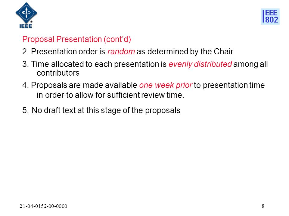 21-04-0152-00-00008 Proposal Presentation (contd) 2.
