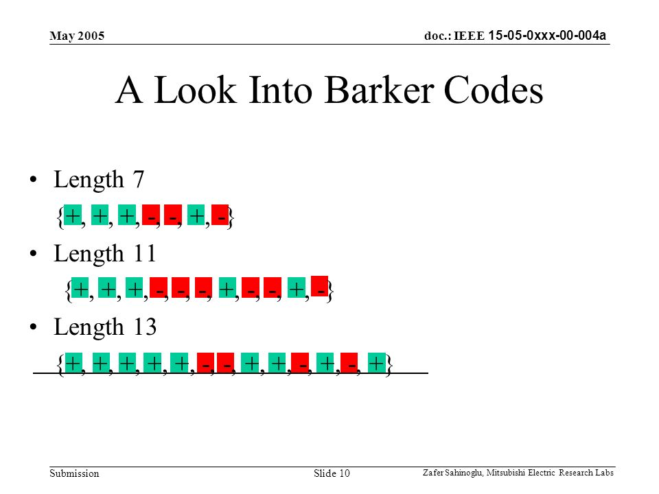 doc.: IEEE 15-05-0xxx-00-004a Submission May 2005 Zafer Sahinoglu, Mitsubishi Electric Research Labs Slide 10 A Look Into Barker Codes Length 7 {+, +, +, -, -, +, -} Length 11 {+, +, +, -, -, -, +, -, -, +, -} Length 13 {+, +, +, +, +, -, -, +, +, -, +, -, +}