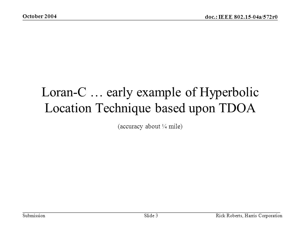 doc.: IEEE 802.15-04a/572r0 Submission October 2004 Rick Roberts, Harris CorporationSlide 3 Loran-C … early example of Hyperbolic Location Technique based upon TDOA (accuracy about ¼ mile)