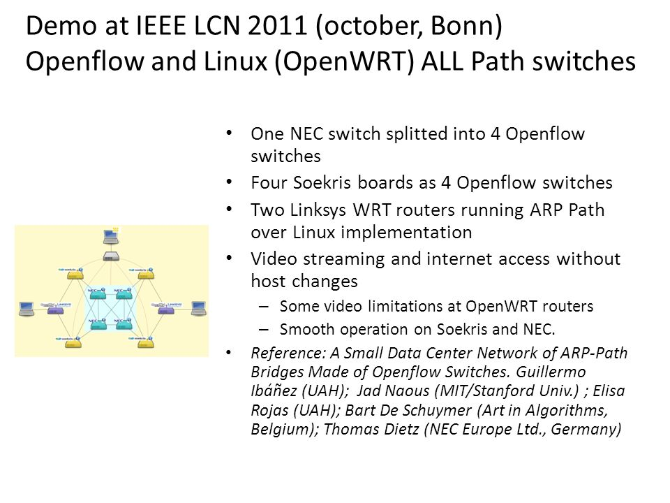 Demo at IEEE LCN 2011 (october, Bonn) Openflow and Linux (OpenWRT) ALL Path switches NOX Openflow controller Ethernet switch