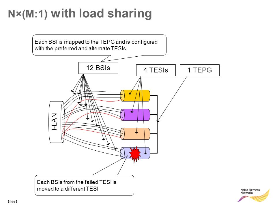Slide 5 N×(M:1) with load sharing I-LAN 4 TESIs1 TEPG12 BSIs Each BSI is mapped to the TEPG and is configuredwith the preferred and alternate TESIs Ea