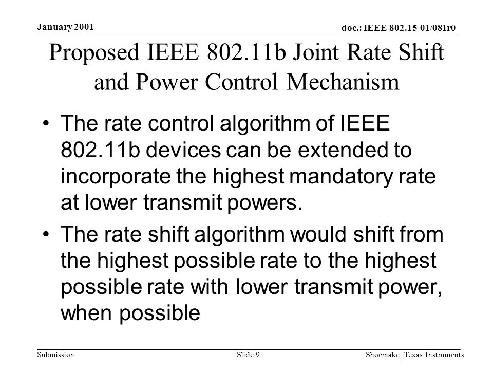 doc.: IEEE /081r0 Submission January 2001 Shoemake, Texas InstrumentsSlide 9 Proposed IEEE b Joint Rate Shift and Power Control Mechanism The rate control algorithm of IEEE b devices can be extended to incorporate the highest mandatory rate at lower transmit powers.