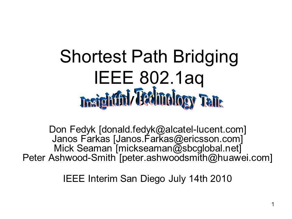 1 Shortest Path Bridging IEEE 802.1aq Overview Don Fedyk [donald.fedyk@alcatel-lucent.com] Janos Farkas [Janos.Farkas@ericsson.com] Mick Seaman [micks