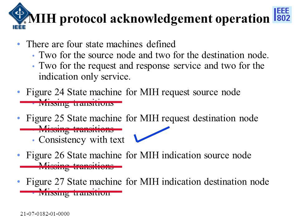 MIH protocol acknowledgement operation There are four state machines defined Two for the source node and two for the destination node.