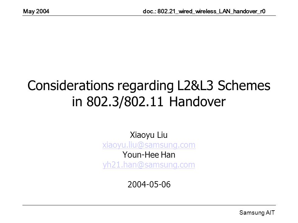 May 2004 doc.: _wired_wireless_LAN_handover_r0 Samsung AIT Considerations regarding L2&L3 Schemes in 802.3/ Handover Xiaoyu Liu Youn-Hee Han