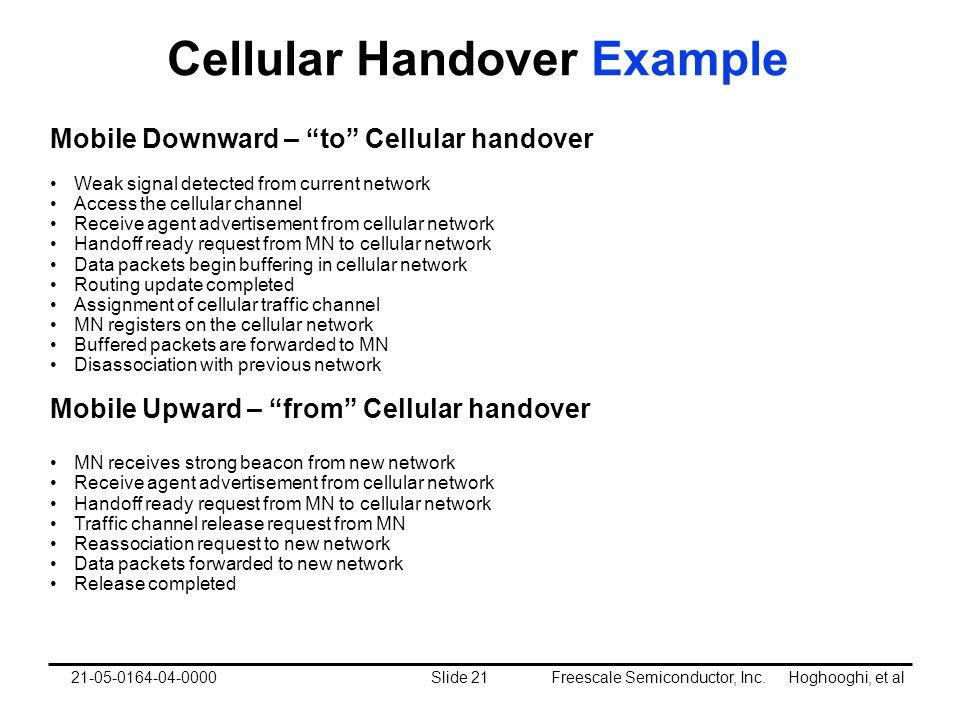 Freescale Semiconductor, Inc. Hoghooghi, et alSlide 2121-05-0164-04-0000 Cellular Handover Example Mobile Downward – to Cellular handover Weak signal