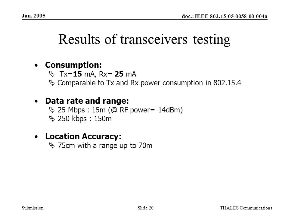 doc.: IEEE 802.15-05-0058-00-004a Submission Jan. 2005 THALES CommunicationsSlide 20 Results of transceivers testing Consumption: Tx=15 mA, Rx= 25 mA