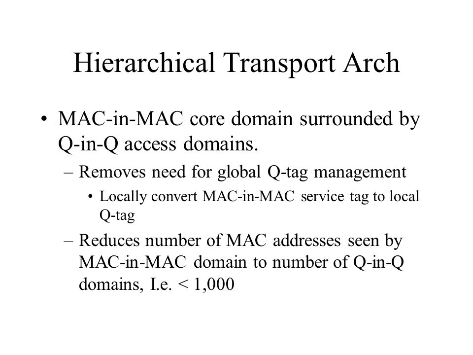 Hierarchical Transport Arch MAC-in-MAC core domain surrounded by Q-in-Q access domains.