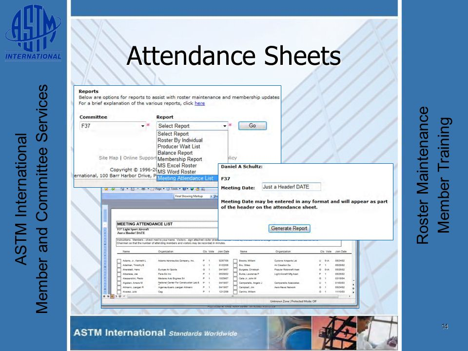 14 ASTM International Member and Committee Services Roster Maintenance Member Training Attendance Sheets