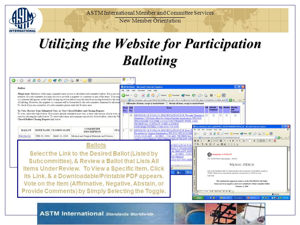 ASTM International Member and Committee Services New Member Orientation Ballots Select the Link to the Desired Ballot (Listed by Subcommittee), & Revi