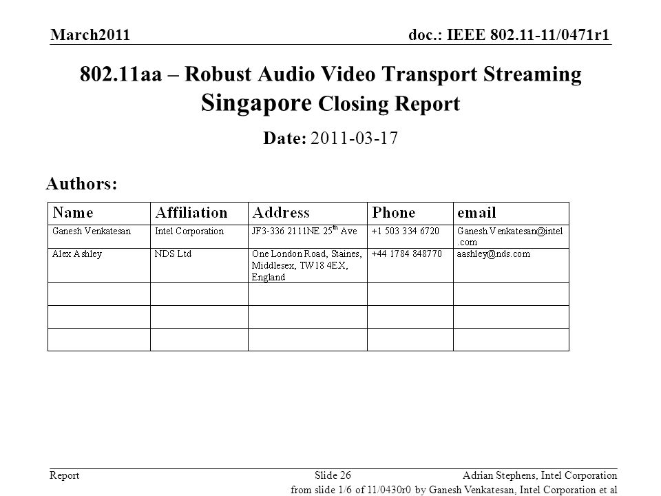 doc.: IEEE 802.11-11/0471r1 Report 802.11aa – Robust Audio Video Transport Streaming Singapore Closing Report Date: 2011-03-17 Authors: Adrian Stephen