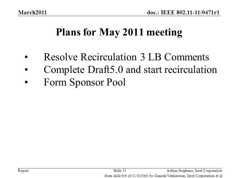 doc.: IEEE 802.11-11/0471r1 Report Plans for May 2011 meeting Resolve Recirculation 3 LB Comments Complete Draft5.0 and start recirculation Form Spons