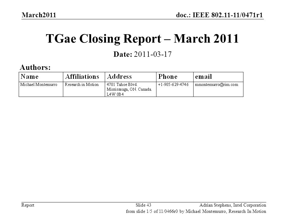 doc.: IEEE 802.11-11/0471r1 ReportAdrian Stephens, Intel CorporationSlide 43 TGae Closing Report – March 2011 Date: 2011-03-17 Authors: from slide 1/5