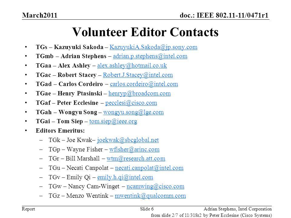 doc.: IEEE 802.11-11/0471r1 ReportSlide 6 Volunteer Editor Contacts TGs – Kazuyuki Sakoda – KazuyukiA.Sakoda@jp.sony.comKazuyukiA.Sakoda@jp.sony.com TGmb – Adrian Stephens – adrian.p.stephens@intel.comadrian.p.stephens@intel.com TGaa – Alex Ashley – alex.ashley@hotmail.co.ukalex.ashley@hotmail.co.uk TGac – Robert Stacey – Robert.J.Stacey@intel.comRobert.J.Stacey@intel.com TGad – Carlos Cordeiro – carlos.cordeiro@intel.comcarlos.cordeiro@intel.com TGae – Henry Ptasinski – henryp@broadcom.comhenryp@broadcom.com TGaf – Peter Ecclesine – pecclesi@cisco.compecclesi@cisco.com TGah – Wongyu Song – wongyu.song@lge.comwongyu.song@lge.com TGai – Tom Siep – tom.siep@ieee.orgtom.siep@ieee.org Editors Emeritus: –TGk – Joe Kwak– joekwak@sbcglobal.netjoekwak@sbcglobal.net –TGp – Wayne Fisher – wfisher@arinc.comwfisher@arinc.com –TGr – Bill Marshall – wtm@research.att.comwtm@research.att.com –TGu – Necati Canpolat – necati.canpolat@intel.comnecati.canpolat@intel.com –TGv – Emily Qi – emily.h.qi@intel.comemily.h.qi@intel.com –TGw – Nancy Cam-Winget – ncamwing@cisco.comncamwing@cisco.com –TGz – Menzo Wentink – mwentink@qualcomm.commwentink@qualcomm.com Adrian Stephens, Intel Corporation from slide 2/7 of 11/318r2 by Peter Ecclesine (Cisco Systems) March2011