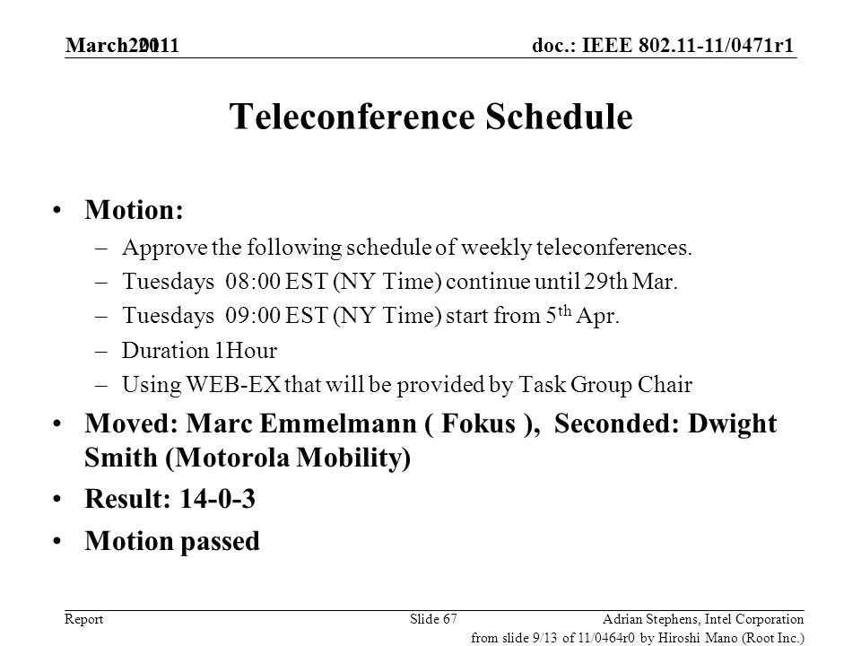 doc.: IEEE 802.11-11/0471r1 Report Teleconference Schedule Motion: –Approve the following schedule of weekly teleconferences. –Tuesdays 08:00 EST (NY